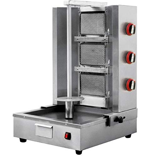 Commercial 3 Zone 40,000 BTU Propane or Natural Gas Vertical Broiler Rotisserie Oven Machine Cooker, for Shawarma Tacos Al Pastor Gyro Doner Kebab