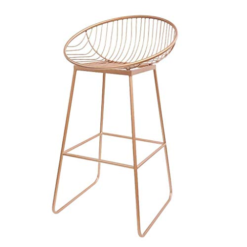 PIVFEDQX Bar Stool Bar Stool Dining Chair Wrought Iron Stool Leisure Metal Chair Coffee Shop High Color Pink Size 72cm
