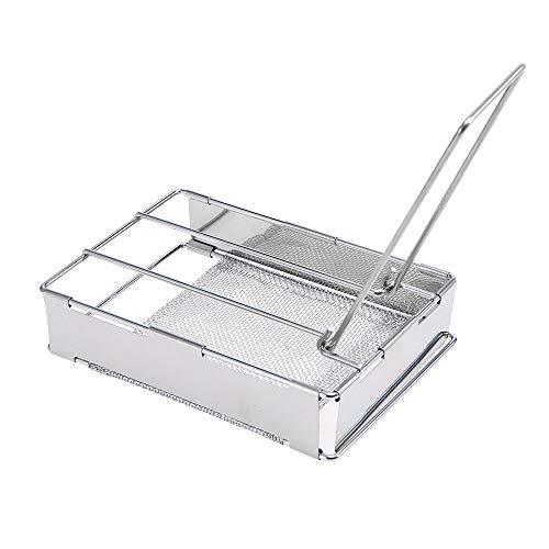 Benkeg Tostadora de Pan - Placa de tostadora Plegable de Acero Inoxidable Parrilla de tostadora portátil para Acampar al Aire Libre