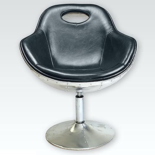 Phoenixarts Vintage Echtleder Schalensessel Design Ledersessel Alu genietet Retro Drehsessel Lounge Sessel Schwarz - Industrie Design 7031
