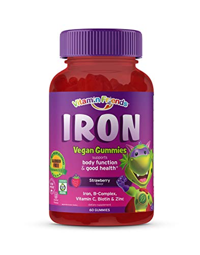 Vitamin Friends Iron Multivitamin for Kids - Made With Organic & Vegan (60 Day Supply) Ferrous Fumarate with B-Complex, Vitamin C, Zinc, Biotin - Iron Gummies Support Kids Body Function Iron Levels & Anemia