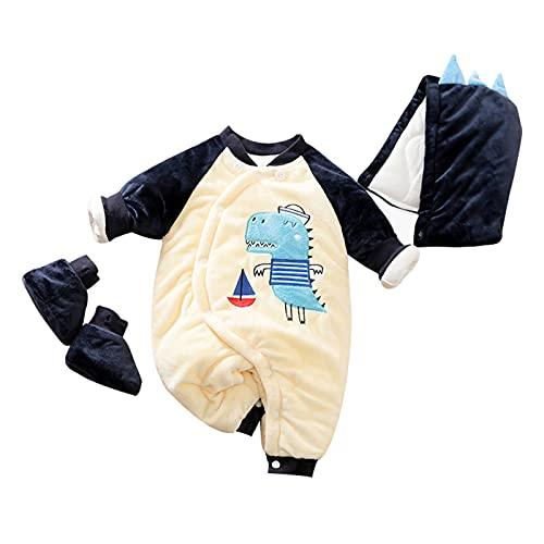 Traje de nieve para bebé desmontable 3 piezas bebé engrosado animal mono recién nacido Footies mono pijama con sombrero+calcetines, Blanco, 3-6 meses