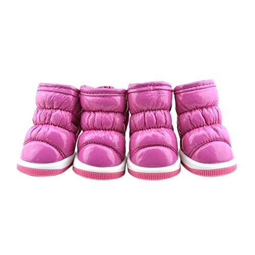 7°MR Haustierschuhe Trendy Winter-weichen PU-Leder Haustier kleine Hunde Booties Schnee Stiefel Schuhe Hund Schuhe Welpen-Winter-Schuhe (Color : P, Size : M)