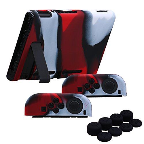 YoRHa Empuñadura Silicona Caso Piel Fundas Protectores Cubierta para Nintendo Switch/NS/NX Joy-con Mando y Tableta x 3 (Camuflaje Rojo) con Joy-con los puños Pulgar Thumb gripsx 8