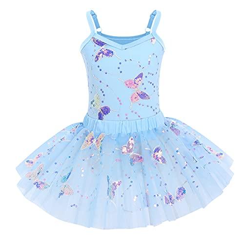 OBEEII Niña Vestido de Ballet Maillot de Danza Baile Gimnasia Leotards Tutú Tulle Dress Sin Mangas con Falda Azul 150