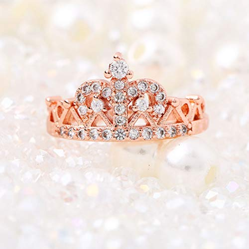 Yean - Anello da donna a forma di corona, in oro rosa e cristalli con zirconi, placcato, per donne e ragazze