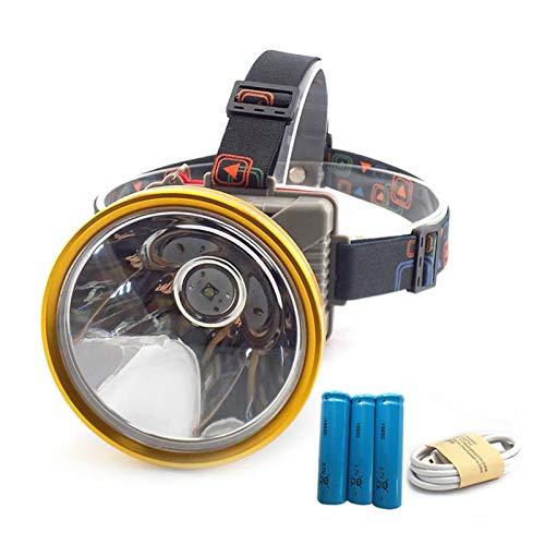 VIAIA Headlamp USB ad Alta Potenza Big Size 3x18650 Batteria Notte Luce Testata Torcia Frontale Torcia Luce Lanterna Illuminazione (Colore : Package A)