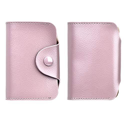 EINWEG bidafun Compatible NFC, RFID Brieftasche Weiches Leder Kreditkarte Twist Wallet Faltkartenhalter Brieftasche-Pink