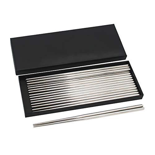 Bingolar 304 Palillos de Metal de Acero Inoxidable,Palillos Reutilizables,Palillo de 10 Pares palillo Chino para la Cena, fácil de sostener, Apto para lavavajillas, cocinar Fideos para freír.