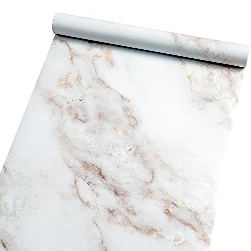 "Marble Self Adhesive Paper Granite 35.4""x78.7"" White Roll Peel and Stick Wallpaper Vinyl Film for Furniture Decorate Matte Waterproof Removable Wallpaper Countertop Cabinet Bathroom Marble Paper"