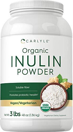 Organic Inulin Powder 48oz   Fiber Supplement   Promotes Probiotic Health   from Jerusalem Artichoke   Vegan, Vegetarian, Non-GMO, Gluten Free   by Carlyle