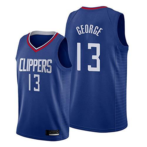 HS-XP Clippers George # 13 Jersey De Baloncesto De Los Hombres, Transpirable De Secado Rápido Sin Mangas Y Jersey del Baloncesto del Swingman,S(165~170cm)