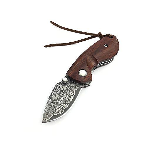 AUBEY Damast Taschenmesser Klein, VG10 Klappmesser Holzgriff Damastmesser aus Damaststahl, EDC Mini Messer Outdoor Pocket Knife Holz