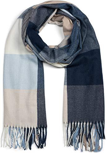 styleBREAKER Unisex weicher Karo Schal mit langen Fransen, kariert, Winter, Stola 01017110, Farbe:Blau-Beige-Weiß