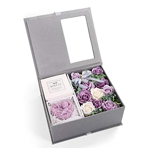 Artículos de Vacaciones Rose del Regalo del Regalo del día de San Valentín MMGZ Creativo de jabón Caja de la Flor de Recuerdo (Rosa) (Color : Purple)