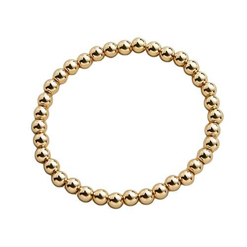 ZHDXW Pulsera de cuentas para hombre y mujer, apilable, elástica, de oro, para regalo, 8 mm