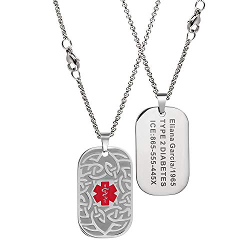 MunsteryAid Customize Medical Alert Celtic Knot Dog Tag Necklace with Free Engraving for Men Women, Personalized Emergency Identification ID Necklace,4 Color Option (Red medical caduceus symbol)