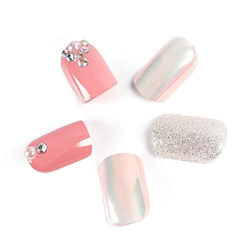 LIARTY 24 Pcs Künstliche Falsche Nägel Naked Pink Bling Full Cover Mittellange Perle Strass Gefälschte Nägel Nagelspitzen für Damen & Frauen