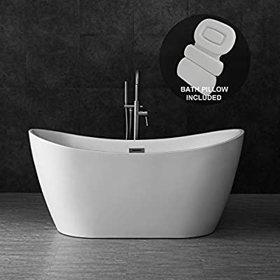 "Woodbridge B-0011/BTA1516 59"" Acrylic Freestanding Bathtub Contemporary Soaking Tub with Brushed Nickel Overflow and Drain BTA1516-B,with Spa Bath Pillow, White"