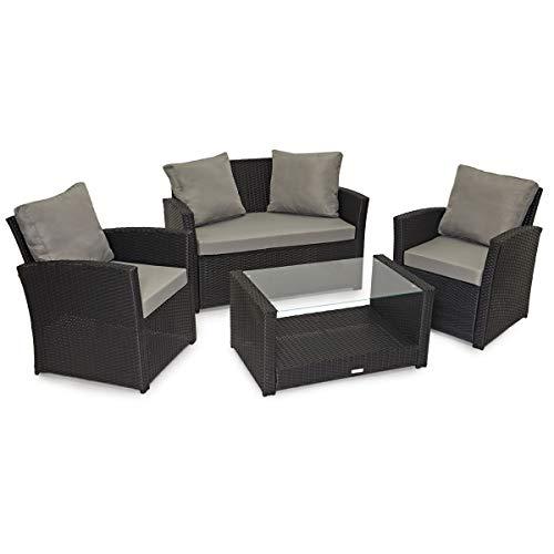 SVITA Roma Polyrattan Lounge Rattan Garten Möbel Set mit Sofa und Sessel Gartenlounge Essgruppe mit Tisch Schwarz…