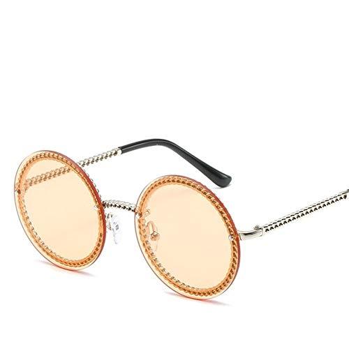 N\A Gafas de Sol de Moda Europa Populares en Sun Gafas sin Montura Redonda Gafas de Sol de Las Mujeres de Lujo Mujer Sombras (Lenses Color : Gold Champagne)