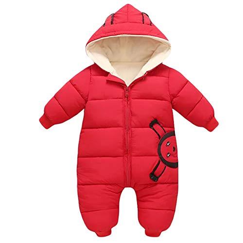 G-Kids Baby Winter Strampler Winter Overall Schneeanzüge Daunenanzug mit Kapuze Mädchen Jungen Winterjacke Jumpsuit Rot 80