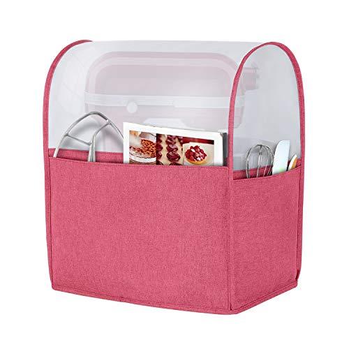 Luxja Staubschutz für 6-8 Quart Standmixer, Abdeckung (blickdichte Oberseite) mit Taschen für Standmixer und extra Zubehör (kompatibel mit 6-8 Quart KitchenAid Mixer), Rot (patentiertes Design)