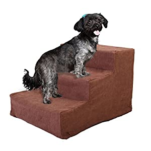 JAXPETY Animals Favorite Pet Stairs, 3 Steps Ramp Ladder for Dogs, Portable, Ladder with Cover Indoor