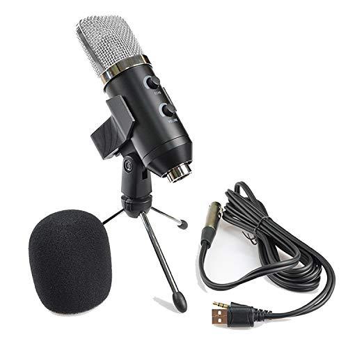 TKOOFN Micrófono Cardioide USB, Micrófonos de Condensador de Grabación de Metal para PC Computadora Portátil, Enseñanza Reunión en Línea, Cantando Juego Transmisión en Vivo, Videollamadas