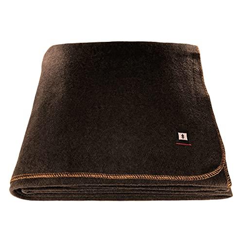 EKTOS 90% Wool Blanket, Washable, 4.5 lbs, 66' x 90' (Twin Size) - Brown