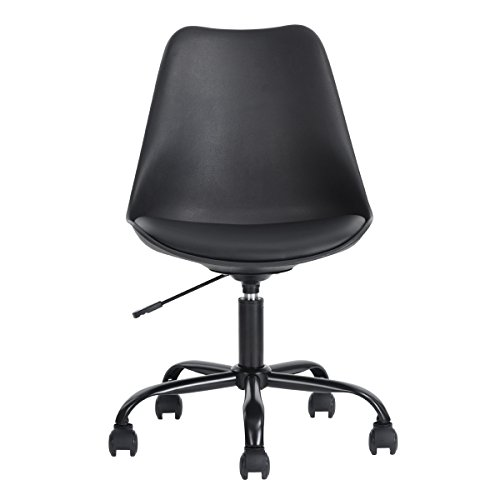 Queen Anne Casa Office Executive Task Chair, PU middenrug ergonomisch, verstelbaar ontwerp draaibaar, computercomputer bureaustoel, thuiswerk, zwart