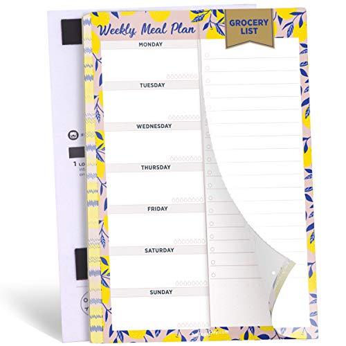 オリデー ウィークリー マグネット式食事プランナーノートパッド 切り離し可能なミシン目入り買い物メモリスト 冷蔵庫 52枚 15.2cm x 22.9cm 献立表パッド ネイビーゴールド (Yellow)