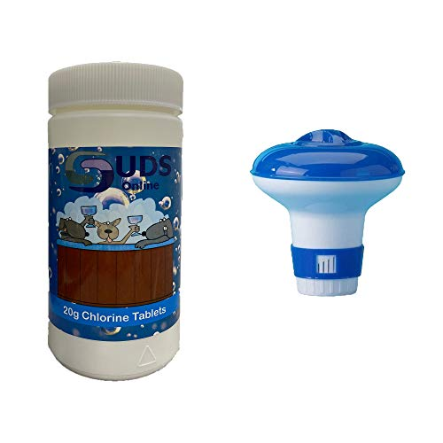 SUDS-ONLINE Floating Dispenser + 50 Ultimate Chlorine Tablets 20g Hot Tub Swimming Pool Spa