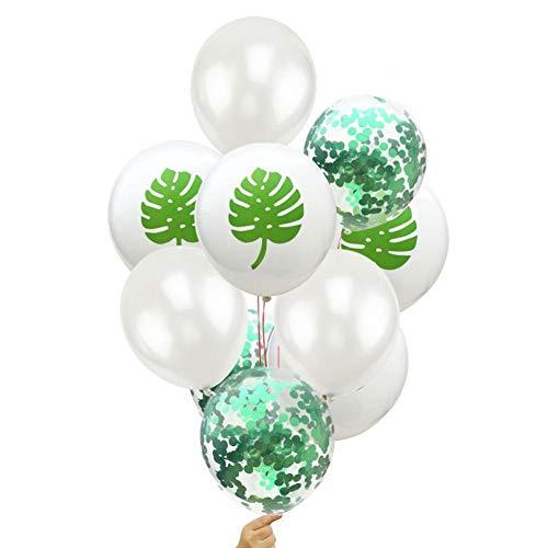 GVJBFC Birthday Jungle Balonon Palm Tree Ballon Hawaii Birthday Party Decoration Niños Adultos Jungle Decor Green Confetti Air Baloon, Chocolate