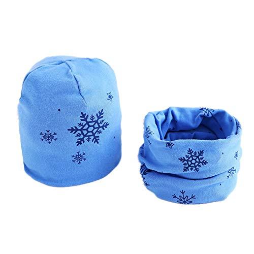 LINGZIA Conjunto de bufanda de sombrero de felpa para niños, cubierta de cabeza de invierno cálido cuello cuellogorros algodón bebé 6M-3years bluwsnow