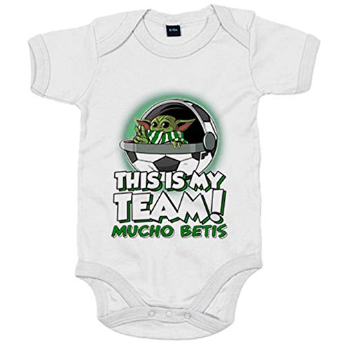 Body bebé parodia baby Yoda mi equipo de fútbol Mucho Betis - Blanco, 6-12 meses