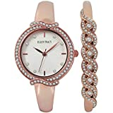 ELLEN TRACY Rose Gold Tone Crystal Watch Set with Crystal Embellished Bangle