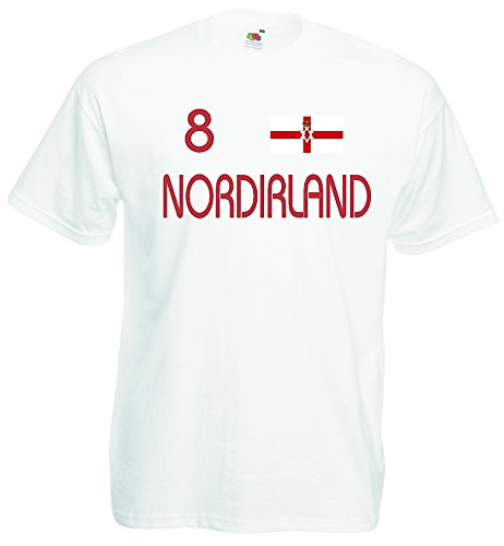 World-of-Shirt Herren T-Shirt Nordirland EM 2016 Trikot Nr 8|Weiss-M