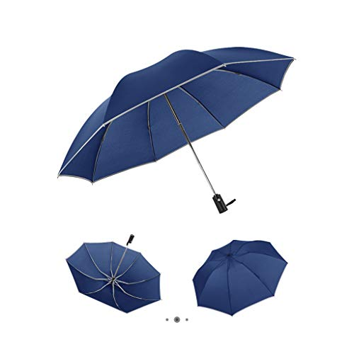 Shan-S Automatic Windproof Umbrella,Portable Reverse 8 Ribs Folding Inverted Auto Open and Close Business Travel Umbrella with Reflective Strips, Festival Gift for Parents, Friends or Colleagues