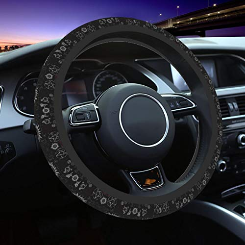 Da66jj Steering Wheel Covers for Car, Supernatural Symbols Black Car Steering Wheel Cover for Women & Girls & Men, Universal 15 Inches Car Accessories