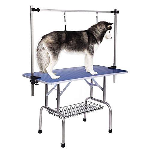Jlxl bijzettafel voor huisdieren, opvouwbaar, verstelbaar, met arm, lus en roosterplaat, maximale draagkracht tot 100 kg, 120 x 60 x 68 cm