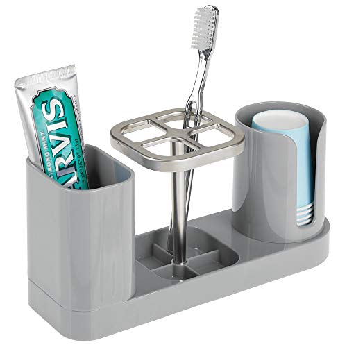 mDesign Plastic Bathroom Vanity Countertop Dental Storage Organizer Holder Stand for Electric Spin Toothbrushes/Toothpaste with Compartment for Rinse Cups  Compact Design  Gray/Brushed