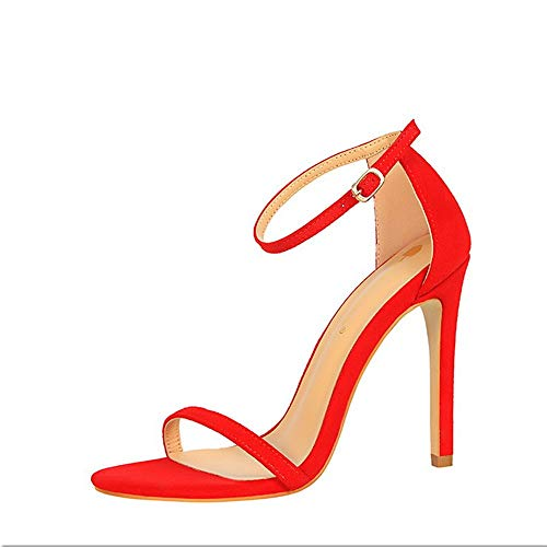 Sandalias De Las Mujeres Ahueca hacia Fuera Suede Sandalias De Tacon De Moda Sexy Fina Correa para El Verano Zapatos De Tacon Alto
