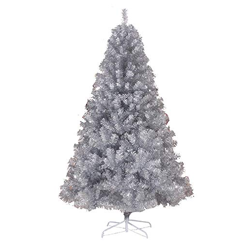 120CM,150CM,180CM,210CM,240CM Artificial Christmas Tree, Traditional Silver Xmas Tree with Metal Stand, Indoor Outdoor Christmas Decoration and Gift -150CM