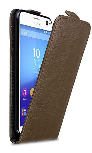 Cadorabo Hülle für Sony Xperia C4 in Kaffee BRAUN - Handyhülle im Flip Design mit Magnetverschluss - Hülle Cover Schutzhülle Etui Tasche Book Klapp Style
