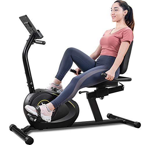 Merax Magnetic Recumbent Exercise Bike with Bluetooth | Multiple Resistance | Quick Adjust Seat