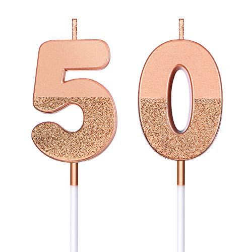 BBTO 50th Birthday Candles Glitter Cake Numeral Candles 50th Birthday Cake Topper Decoration for Birthday Wedding Anniversary Celebration Favor, Rose Gold