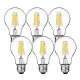 ledフィラメント電球 e26 led 電球色 6W 全配光 PSE認証 密閉器具対応 led電球 クリア電球 led 26(6個入)