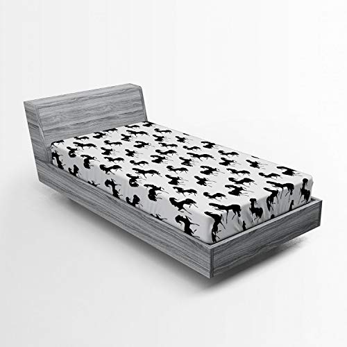 Ambesonne Horses Fitted Sheet, Farm Animal Silhouettes with Various Poses Galloping Trotting Cantering and Loping, Soft Decorative Fabric Bedding All-Round Elastic Pocket, Twin Size, Black White