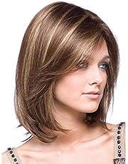 happyhouse009 Peluca sintética para mujer, estilo oblicuo, corte de pelo, peluca de estilo bob, para fiestas, decoración de pelo